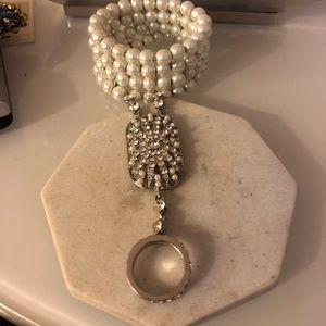 Vintage Faux Pearl Rhinestone Bracelet Ring